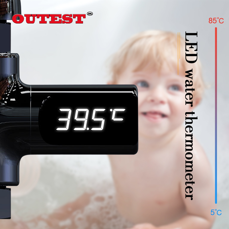 LED Display Home Water Shower Thermometer Flow Self-Generating Electricity Water Temperature Meter Monitor for Baby Care