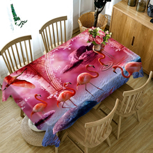 3d Red Flamingo Animal Pattern 3D Round Tablecloth Washable Polyester Cotton Rectangular Dining Table Cloth for Wedding Banquet