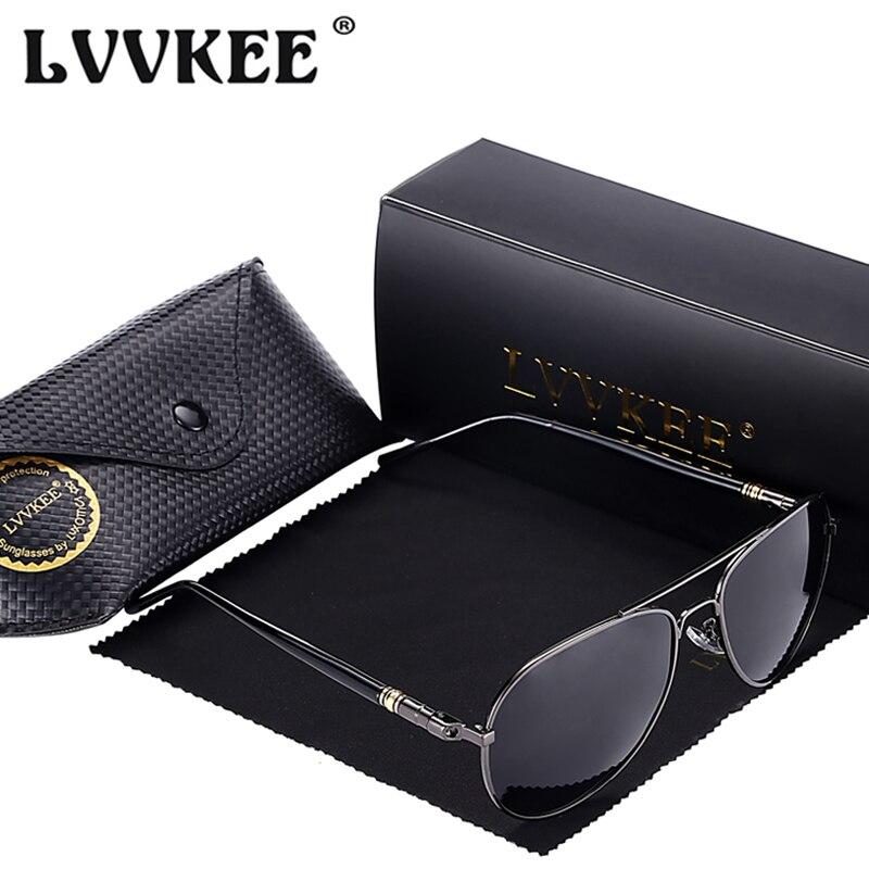4b282626cc014 LVVKEE Marque Hommes polarisées conduite lunettes de soleil Aviateur  lunettes de Soleil Anti-UV lunettes oculos de sol masculino avec la boîte  d'origine