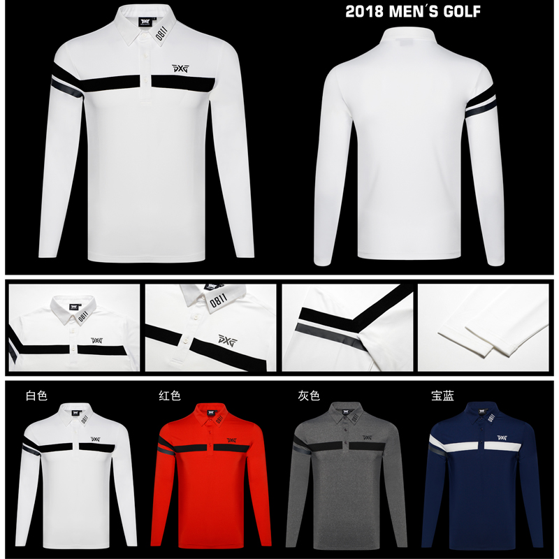 PXG Golf shirts 4 Colors Autumn Long Sleeve Golf T Shirt Button Breathable Sportswear Men'S Polo Shirts Striped Tops Shirt slimming single button embellished long sleeve t shirt