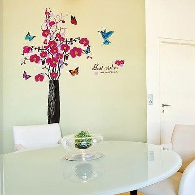 947aa78be19791 Oiseaux Papillon Fleur Filles Wall Sticker Amovible Art Vinyl Stickers Muraux  Chambre Décor