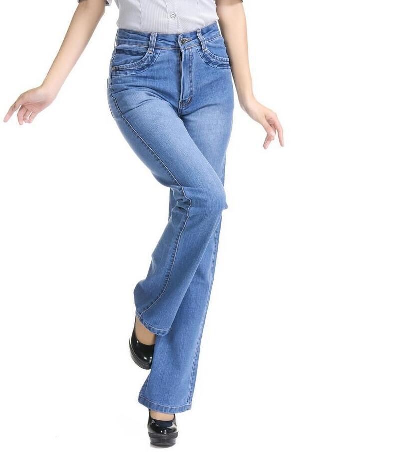 18 High Waist Jeans Women casual Bell Bottom Jeans Female Slim Elastic Flare Pants women denim pants Plus Size 7XL S733 2