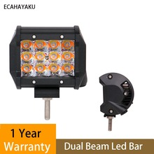 ECAHAYAKU 36W 4 Inch Triple Row White Amber Color Changing 5 Modes Led Work Light Bar for jeep truck ATV SUV 4x4 Fog