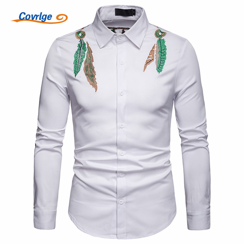Covrlge Men Shirts New Arrivals Embroidery Slim Fit Hawaii Male Shirt Solid Long Sleeve British Style Casual Men 39 s Shirt MCL193 in Casual Shirts from Men 39 s Clothing