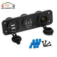 Nowa Ładowarka Samochodowa Motocykl Wtyczki Dual USB Adapter + 12 V/24 V Gniazda Zapalniczki Niebieska DIODA LED + Woltomierz cyfrowy Telefon komórkowy