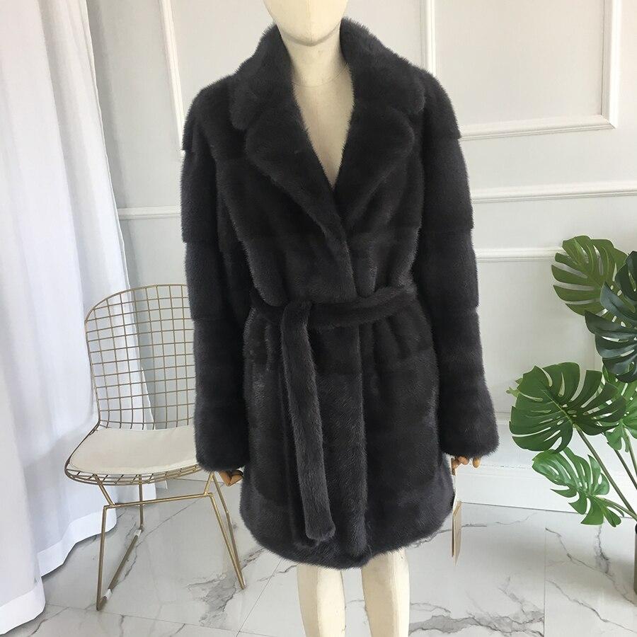 De piel de visón Real mujeres medio largo abrigo de mujer abrigo de piel de visón con cuello de piel de visón real bel natural chaqueta de piel de 90 cm