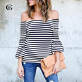 Lace Girl Tee Shirt Women Femme 2017 New Full Cotton Slash Neck Striped T-shirt Autumn Flare Sleeve Camisetas Mujer