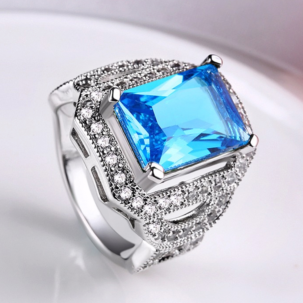 luxury wedding rings tuker luxury white square ring fashion white amp blue silver 5628