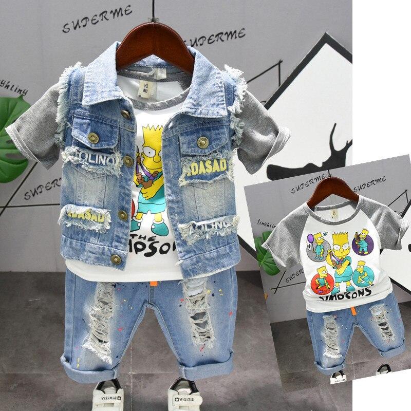 2019 Toddler Boys Clothing Set Denim Star Vest + Cartoon T Shirt+ Hole Denim Pants Summer Children's Clothes Outfit Korean Style