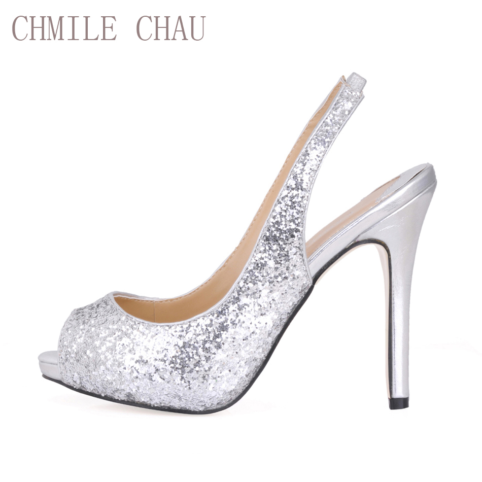 CHMILE CHAU Glitter Sexy Wedding Bridal Party Shoes Women Peep Toe Stiletto High Heel Slingbak Ladies Pumps Zapatos Mujer S2