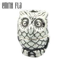 Emith Fla 925 Sterling Silver Owl Charm Beads  Small Hole Fit for European Brand Troll Bracelet & Necklace Vintage DIY Jewelry