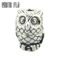 Emith Fla 925 Sterling Silver Owl Charm Beads Small Hole Fit For European Brand Troll Bracelet
