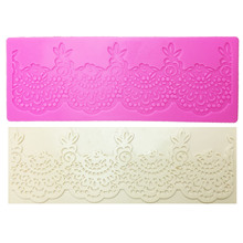 M0358 Flower lace mat DIY Silicone Mold For Cake Decorating tools baking bakeware mould silicone mat fondant cake cake border decoration lace mat sugracraft lace mold for fondant wedding cake decorating cake decorating tools bakeware lfm 27
