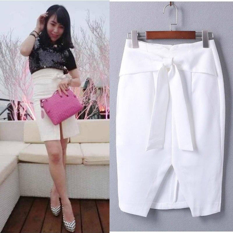Customize Women Spring Summer Big Plus Size 3XS 10XL Bow Decoration Front Slit Sexy Short Mini Midi Pencil Skirt Black/White/Red