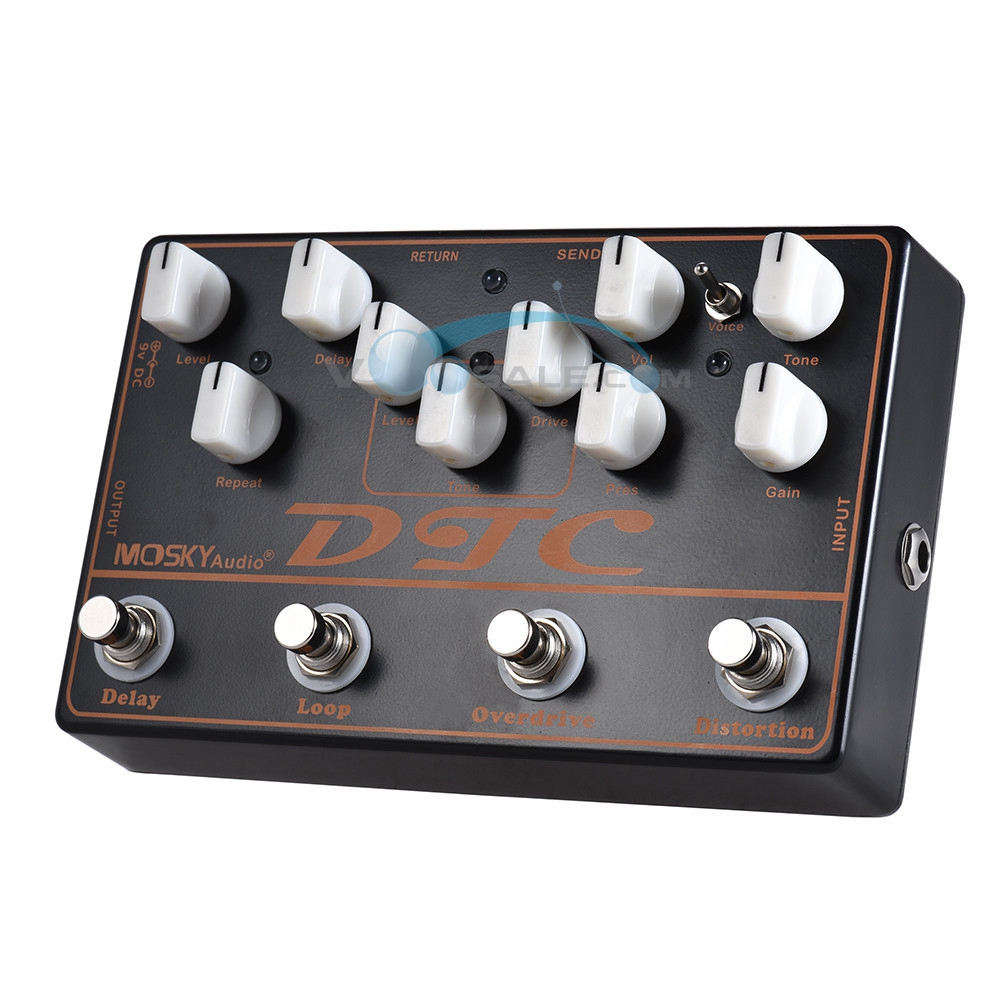 Mosky DTC 4-in-1 Guitar Effect Pedal With Distortion/Overdrive/Loop/Delay Function Pedal Effect Guitar Accessories Multi-Effects image