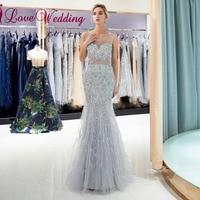 iLoveWedding Evening Dress 2018 Sheer Jewel Neck Shinning Crystal Beaded Silver Tulle Mermaid Abiti da cerimonia da sera Gowns