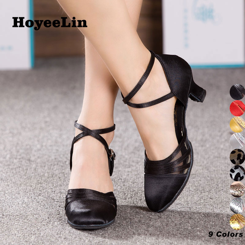 HoYeeLin Tango Waltz Shoes Women Ladies Closed Toe Ballroom Party Dance Shoes Mid Heeled Dancing Performance Shoes ladies latin dance shoes closed toe middle heel ladies ballroom dancing shoe waltz viennese waltz tango foxtrot shoes 5 5cm heel