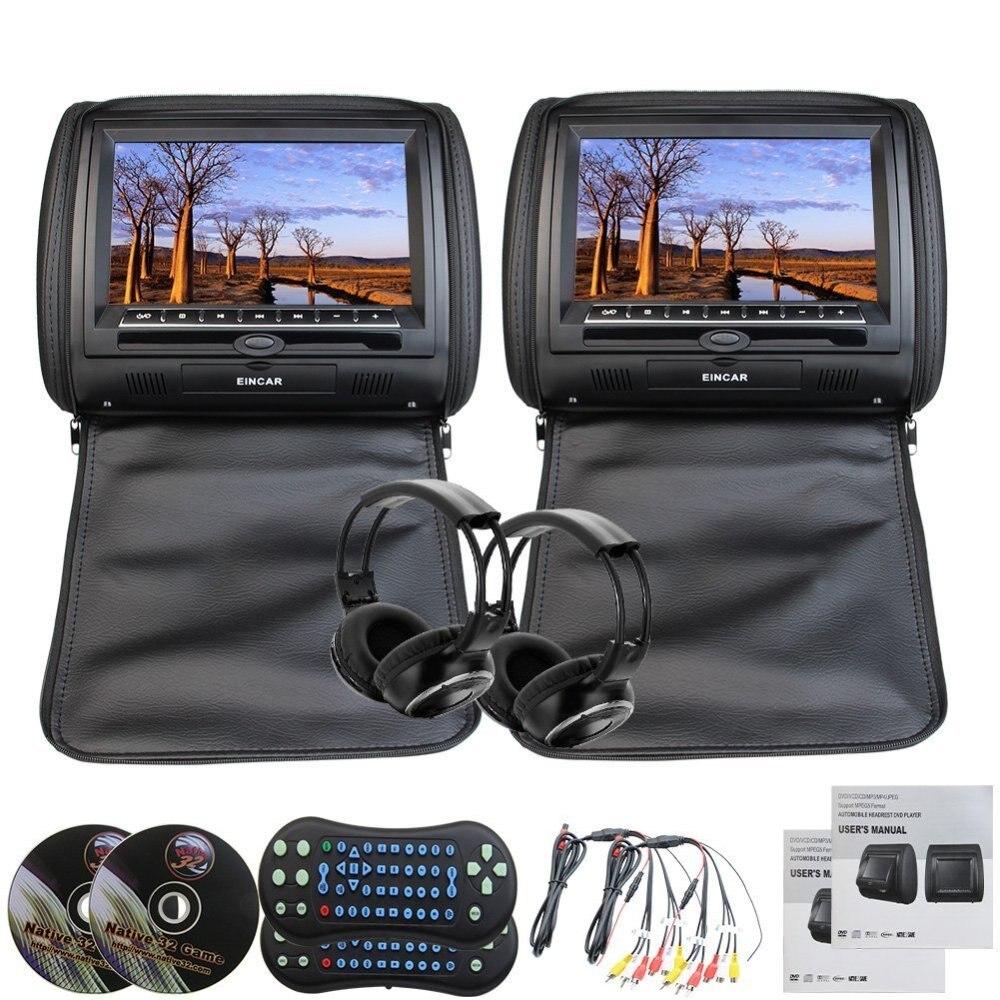 Наушники + подголовник автомобиля Черный Цвет кожа 9 Подушка подголовник монитор дистанционного Управление USB SD fm передатчик 32 бит игры