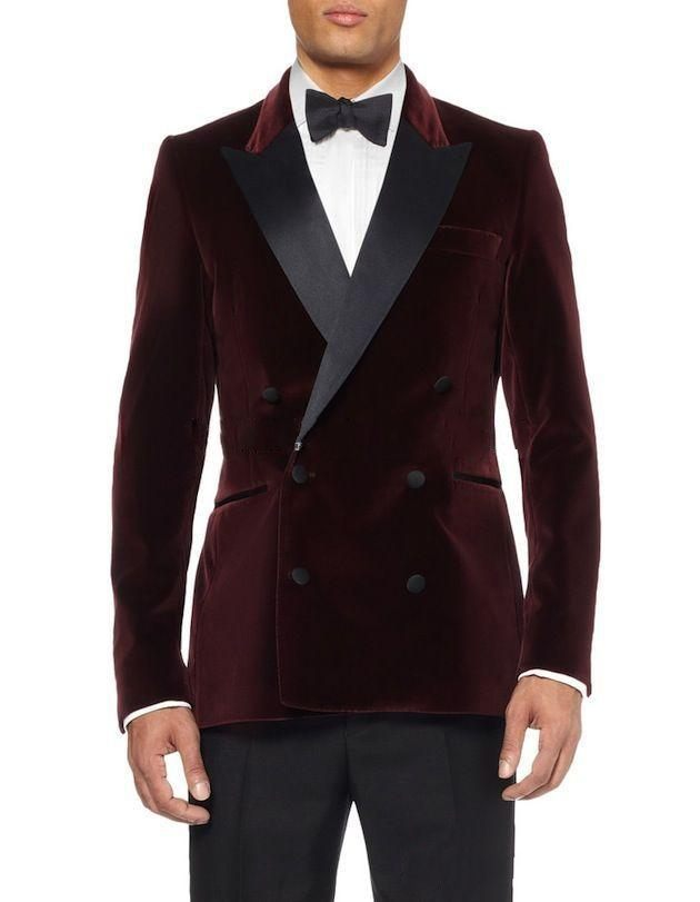 Double Breasted Dark Red Velvet Groom Tuxedos Groomsmen Men s Wedding Prom Suits Bridegroom Jacket Pants