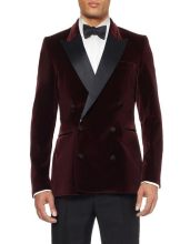 Double-Breasted Dark Red Velvet Groom Tuxedos Groomsmen Men's Wedding Prom Suits Bridegroom (Jacket+Pants+Girdle+Tie) K:667