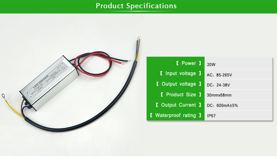 Marvelous Led Driver Ac 100 240V To Dc 24V 38V Lighting Transformer 20W 600Ma Wiring Digital Resources Xeirawoestevosnl