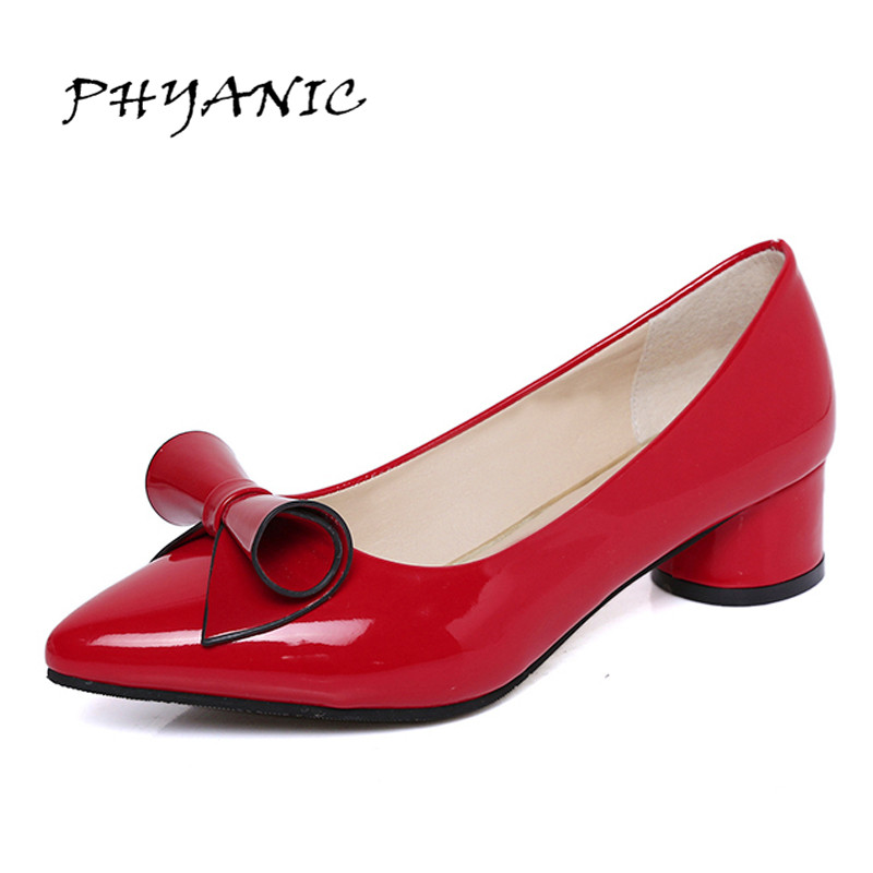 PHYANIC 2017 Spring Womens Low heel leather Pointed toe Shoes woman high Slip on dress Shoes Zapatos Mujer Ladies Bowtie Shoes spring summer women leather flat shoes 2017 sweet bowtie flats women shoes pointed toe slip on ladies shoes low heel shoes pink