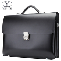 YINTE Leather Briefcase Black Men S Business Leather Bag High Quality Totes Lawyer Bag 14 Laptop