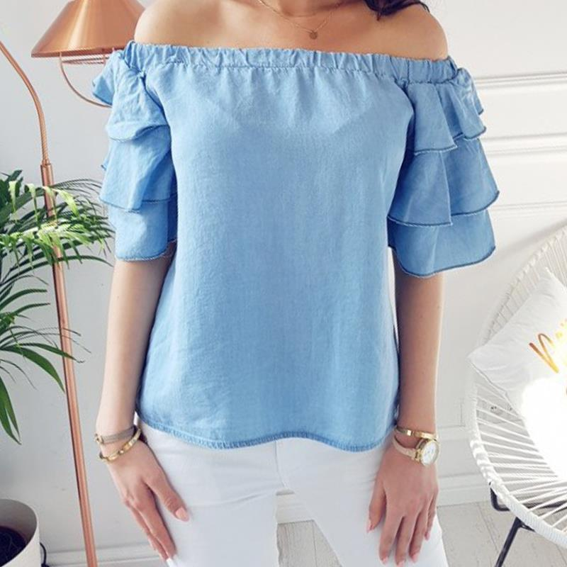 Women Blosues Summer Causal Shirts Off Shoulder Sexy Half Sleeve Ruffles Solid Plus Size Clubwear LJ9326X