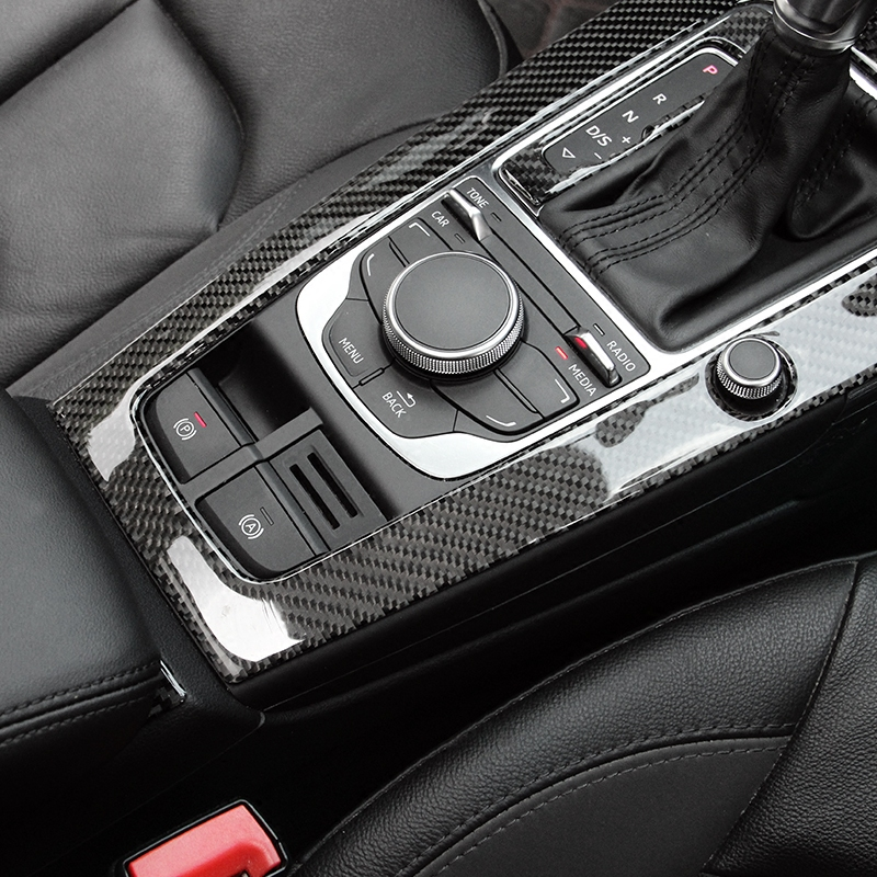 100% Real Carbon Fiber Control Gear Shift Panel Decorative Cover Car Styling Sticker for Audi A3 S3 2014 2015 2016 LHD цены
