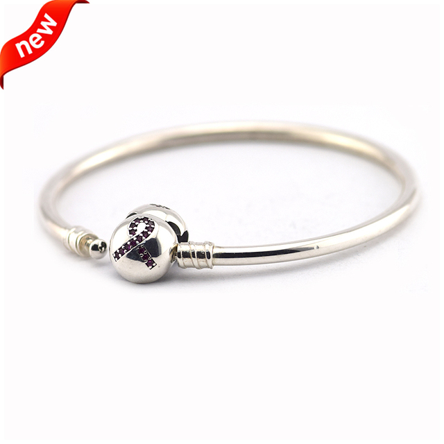 Fits European Style Fashion Jewelry for Women 100% 925 Sterling Silver Bangle with Pink Ribbon Clasp FLB16019