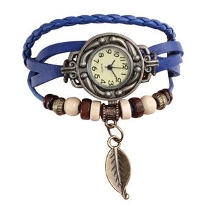 Image 4 - Multicolor High Quality Women Genuine Leather Vintage Quartz Dress Watch Bracelet Wristwatches leaf gift Christmas free shipping
