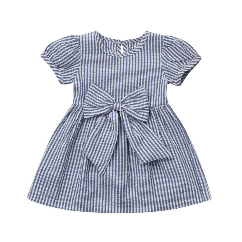 ARLONEET Summer Baby Girls Clothes Infant Toddler Kids Clothes Stripe Bow Princess Outfits Dress Dropshipping Mar15 цены онлайн