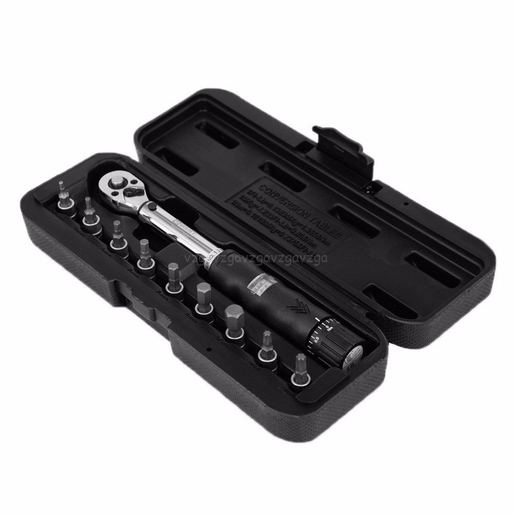 "1/4 ""2-14nm Drive Klik Momentsleutel Hand Spanner + 9 Socket Bits + Box Set Fiets Tool J03 19 Dropship"
