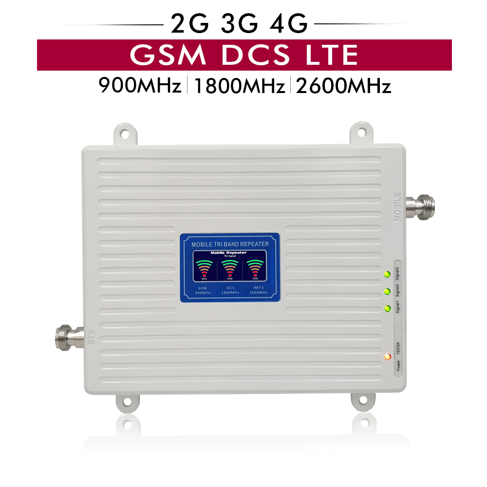 65dB Gain LCD Display 2G 3G 4G Triple Band Booster GSM 900+DCS/LTE 1800+FDD LTE 2600 Cell Phone Mobile Signal Repeater Amplifier
