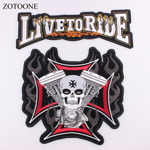 LIVE TO RIDE Skull Big Patch For Jacket Clothing Embroidered Apparel Fabric Sewing Beaded Applique DIY Clothes Sticker H