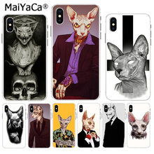 MaiYaCa Sphynx Mr. Cat Venda Quente Moda case capa do telefone para o iPhone Da Apple 8 7 6 6S Plus X XS max 5 5S SE XR Cobertura Móvel(China)