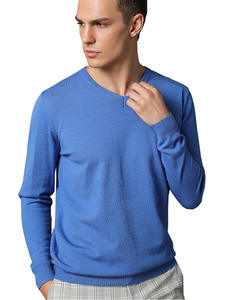 Sweater Man Outwear Jumper Clothing Pullovers V-Neck Knitting Long-Sleeve Grey Cotton