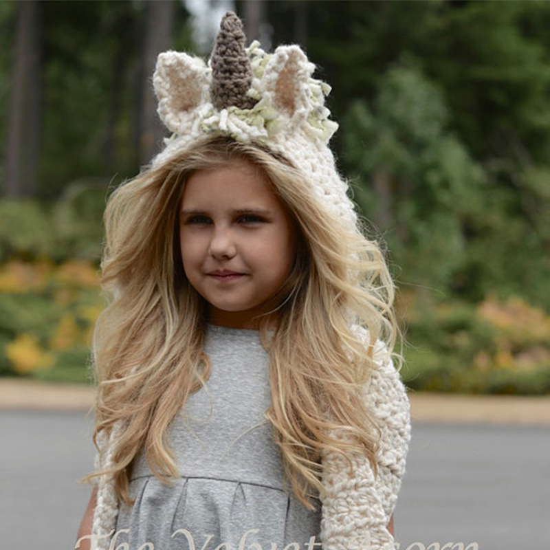 Devoted Children's Unicorn Hat Wool Crochet Cape Cap Europe And America Creative Scarf Handmade Child Cartoon Hat Carefully Selected Materials
