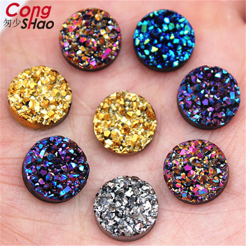 50PCS 20mm Round Resin Rhinestones Crystal Stones flat back Beads ZZ414