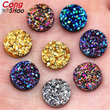 New Bling AB Color 50PCS 12mm Concave Mineral Surface Round Resin Rhinestone Flatback Cabochon Stone DIY Wedding Decoration 8Y82 round bathroom stone resin pedestal washbasin cloakroom solid surface stone freestanding vanity sink w9006
