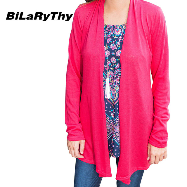 BiLaRyThy Autumn Casual Women's Long Sleeve Thin Basic Jacket Outerwear Open Stitch Solid Tops Coat Female Clothing