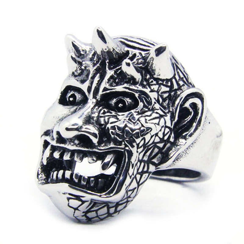 Details about Ring For Men Biker Devil Drenvny God With Horns On The  Forehead Stainless Steel