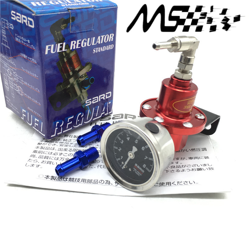 Universal Adjustable SARD fuel pressure regulator with original gauge and instructions(red/blue/gold/silver/black/Titanium)