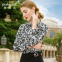 POKWAI шелковая блузка женская 2019 Весна Новый длинный рукав воротник куртка абстрактная Геометрическая Печать Тонкая шелковая рубашка