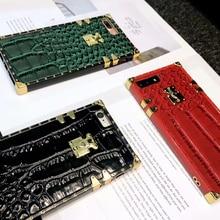 Роскошные 3D модные крокодиловой кожи текстуры с чехол для телефона со шнуром для iPhone 6 6s 7 8 Plus X XS XR MAX чехол для телефона