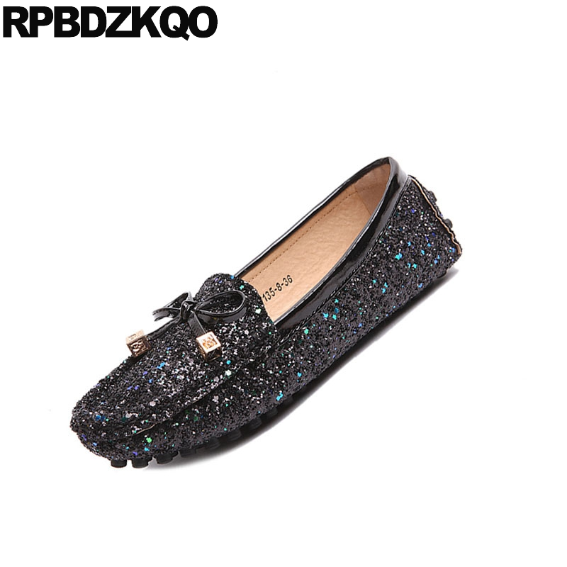 Simples Bout Conduite Fourrure Noir Automne Printemps Chaussures Paillettes Arc Mocassins Glitter Appartements Noir Femmes Rond gris Sequin De Bling Hiver pYRwq7anxg
