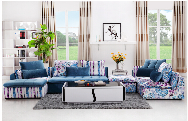 U best fabric sofa combination modern simple fashion for Large living room sofas