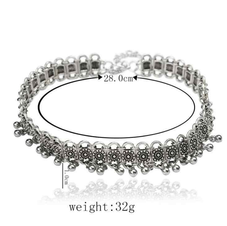 Mới Thời Trang Bohemia Chuông Chokers Necklaces cho Phụ Nữ Thổ Nhĩ Kỳ Antique Mạ Bạc Liên Kết Ngắn Dây Chuyền Jewelry Cổ Áo