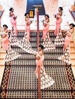 Плюс Размеры невесты Платья Длинные розовые Свадебная вечеринка Гость платье женщина