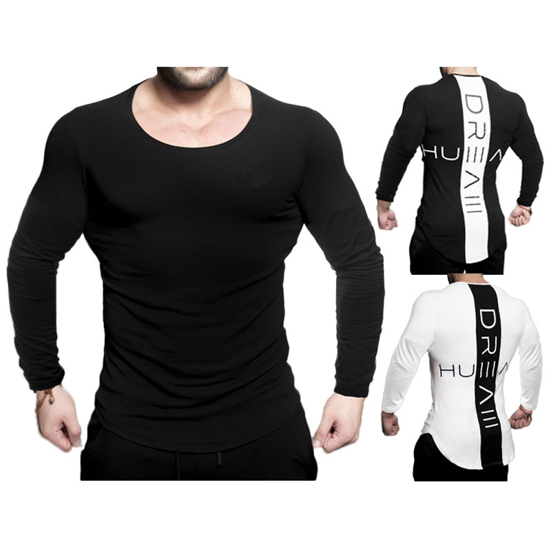 2019 Mens Gym Long Sleeve Running T Shirt Longline Slim Muscle Fit Long Sleeve Plain Top Curved Hem Plus Size 3XL From Xuelianguo, $20.32 | DHgate.Com